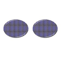 Squares Blue Background Cufflinks (oval) by Simbadda