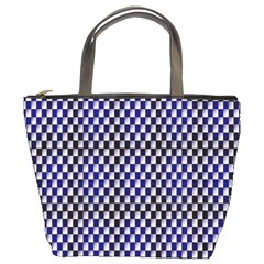 Squares Blue Background Bucket Bags by Simbadda