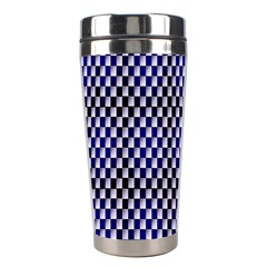 Squares Blue Background Stainless Steel Travel Tumblers by Simbadda