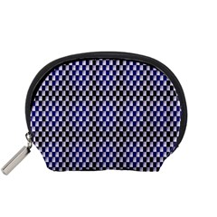 Squares Blue Background Accessory Pouches (small)  by Simbadda