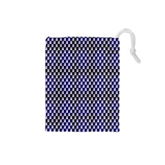 Squares Blue Background Drawstring Pouches (small)