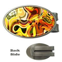 Colourful Abstract Background Design Money Clips (oval)