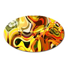 Colourful Abstract Background Design Oval Magnet by Simbadda