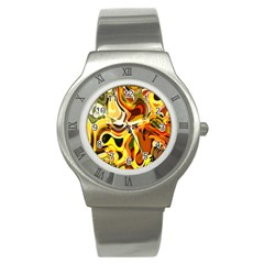 Colourful Abstract Background Design Stainless Steel Watch by Simbadda