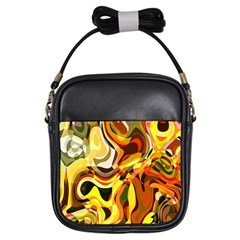 Colourful Abstract Background Design Girls Sling Bags