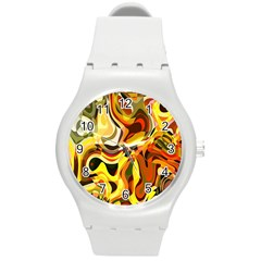 Colourful Abstract Background Design Round Plastic Sport Watch (m) by Simbadda