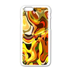 Colourful Abstract Background Design Apple Iphone 6/6s White Enamel Case by Simbadda