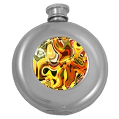 Colourful Abstract Background Design Round Hip Flask (5 Oz)