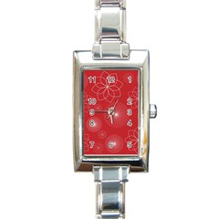 Floral Spirals Wallpaper Background Red Pattern Rectangle Italian Charm Watch by Simbadda