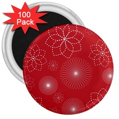 Floral Spirals Wallpaper Background Red Pattern 3  Magnets (100 Pack)