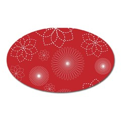 Floral Spirals Wallpaper Background Red Pattern Oval Magnet