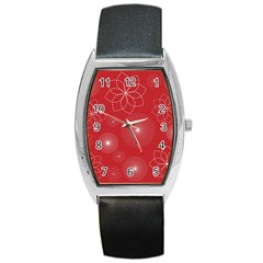 Floral Spirals Wallpaper Background Red Pattern Barrel Style Metal Watch by Simbadda