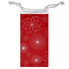Floral Spirals Wallpaper Background Red Pattern Jewelry Bag by Simbadda
