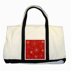 Floral Spirals Wallpaper Background Red Pattern Two Tone Tote Bag by Simbadda
