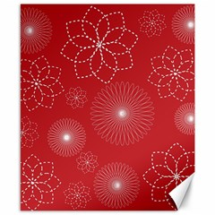 Floral Spirals Wallpaper Background Red Pattern Canvas 8  X 10  by Simbadda