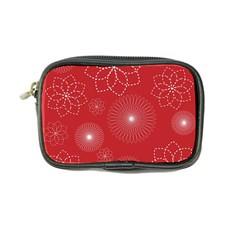Floral Spirals Wallpaper Background Red Pattern Coin Purse by Simbadda