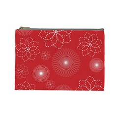Floral Spirals Wallpaper Background Red Pattern Cosmetic Bag (large)