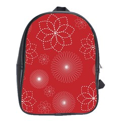 Floral Spirals Wallpaper Background Red Pattern School Bags(large)  by Simbadda