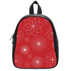 Floral Spirals Wallpaper Background Red Pattern School Bags (small)  by Simbadda