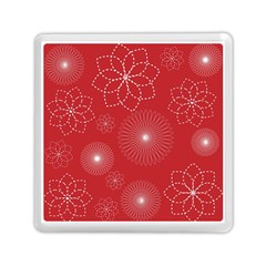 Floral Spirals Wallpaper Background Red Pattern Memory Card Reader (square)