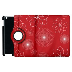 Floral Spirals Wallpaper Background Red Pattern Apple Ipad 2 Flip 360 Case by Simbadda
