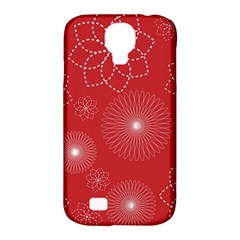 Floral Spirals Wallpaper Background Red Pattern Samsung Galaxy S4 Classic Hardshell Case (pc+silicone) by Simbadda