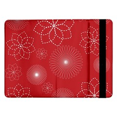 Floral Spirals Wallpaper Background Red Pattern Samsung Galaxy Tab Pro 12 2  Flip Case by Simbadda