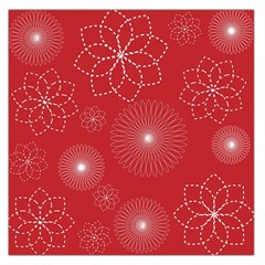 Floral Spirals Wallpaper Background Red Pattern Large Satin Scarf (square) by Simbadda
