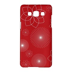 Floral Spirals Wallpaper Background Red Pattern Samsung Galaxy A5 Hardshell Case  by Simbadda