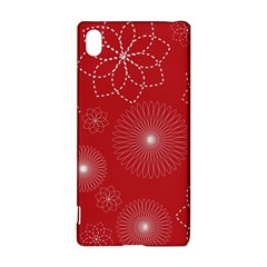 Floral Spirals Wallpaper Background Red Pattern Sony Xperia Z3+ by Simbadda