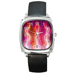 Fire Flames Abstract Background Square Metal Watch by Simbadda