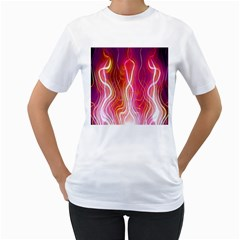Fire Flames Abstract Background Women s T Shirt (white)  by Simbadda