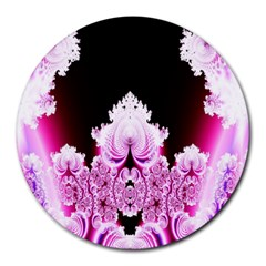 Fractal In Pink Lovely Round Mousepads by Simbadda