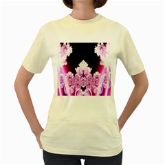 Fractal In Pink Lovely Women s Yellow T Shirt by Simbadda
