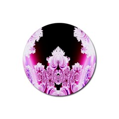 Fractal In Pink Lovely Rubber Round Coaster (4 Pack)  by Simbadda