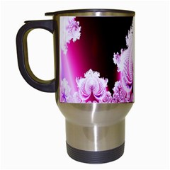 Fractal In Pink Lovely Travel Mugs (white) by Simbadda