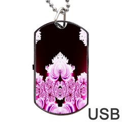 Fractal In Pink Lovely Dog Tag Usb Flash (one Side) by Simbadda