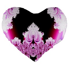 Fractal In Pink Lovely Large 19  Premium Heart Shape Cushions by Simbadda