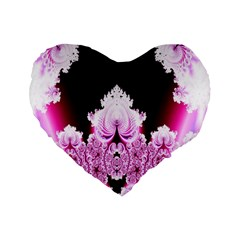 Fractal In Pink Lovely Standard 16  Premium Flano Heart Shape Cushions by Simbadda