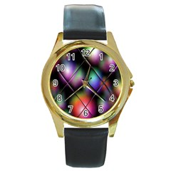 Soft Balls In Color Behind Glass Tile Round Gold Metal Watch