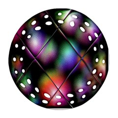 Soft Balls In Color Behind Glass Tile Round Filigree Ornament (two Sides)