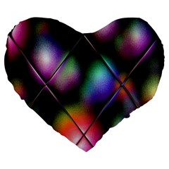 Soft Balls In Color Behind Glass Tile Large 19  Premium Flano Heart Shape Cushions by Simbadda