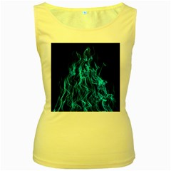 Digitally Created Blue Flames Of Fire Women s Yellow Tank Top