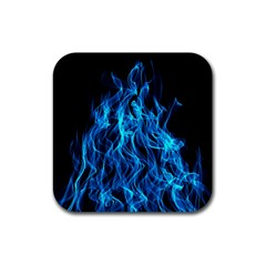 Digitally Created Blue Flames Of Fire Rubber Coaster (square)  by Simbadda