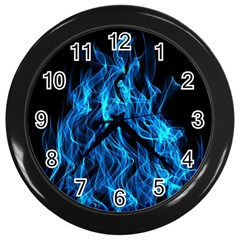 Digitally Created Blue Flames Of Fire Wall Clocks (black) by Simbadda