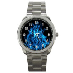 Digitally Created Blue Flames Of Fire Sport Metal Watch by Simbadda