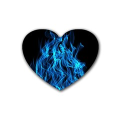 Digitally Created Blue Flames Of Fire Rubber Coaster (heart)  by Simbadda