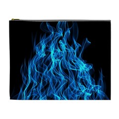 Digitally Created Blue Flames Of Fire Cosmetic Bag (xl) by Simbadda