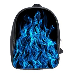 Digitally Created Blue Flames Of Fire School Bags(large)  by Simbadda