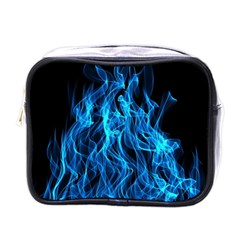 Digitally Created Blue Flames Of Fire Mini Toiletries Bags by Simbadda